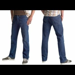 Levi's 501 dark blue button fly straight fit jeans
